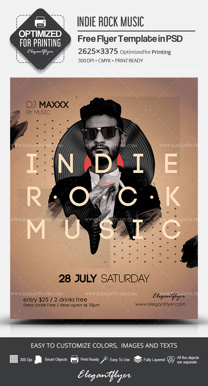 Indie Rock Music – Free PSD Flyer Template