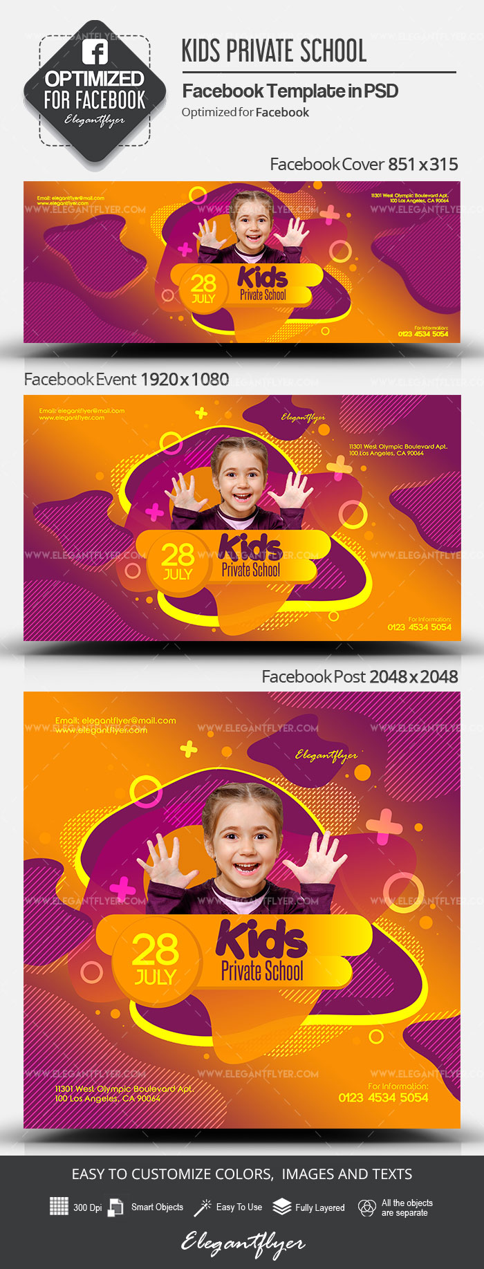 Kids Private School – Facebook Cover Template in PSD + Post + Event cover