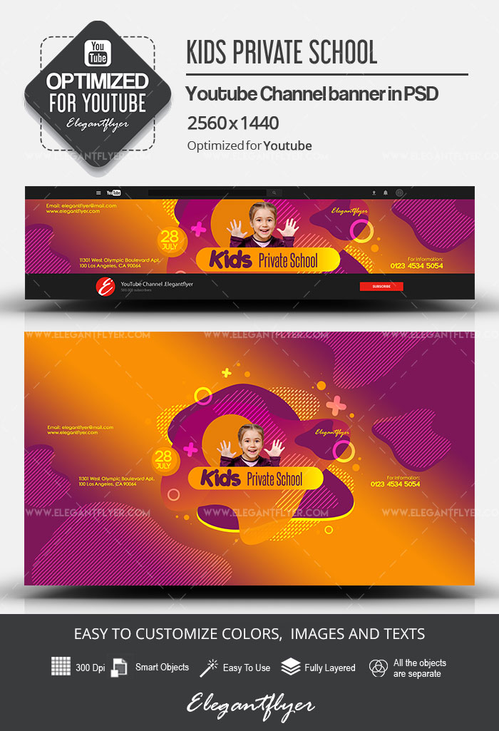 Kids Private School – Youtube Channel banner PSD Template
