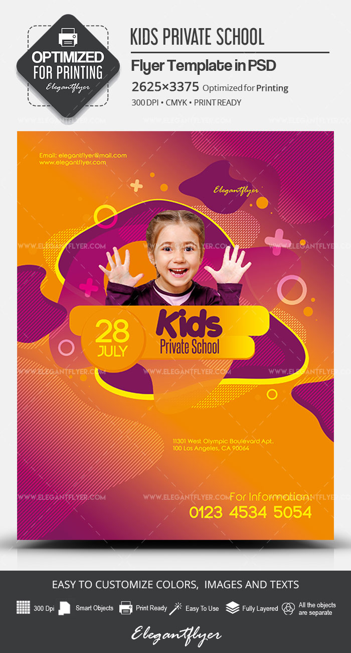 Kids Private School – PSD Flyer Template