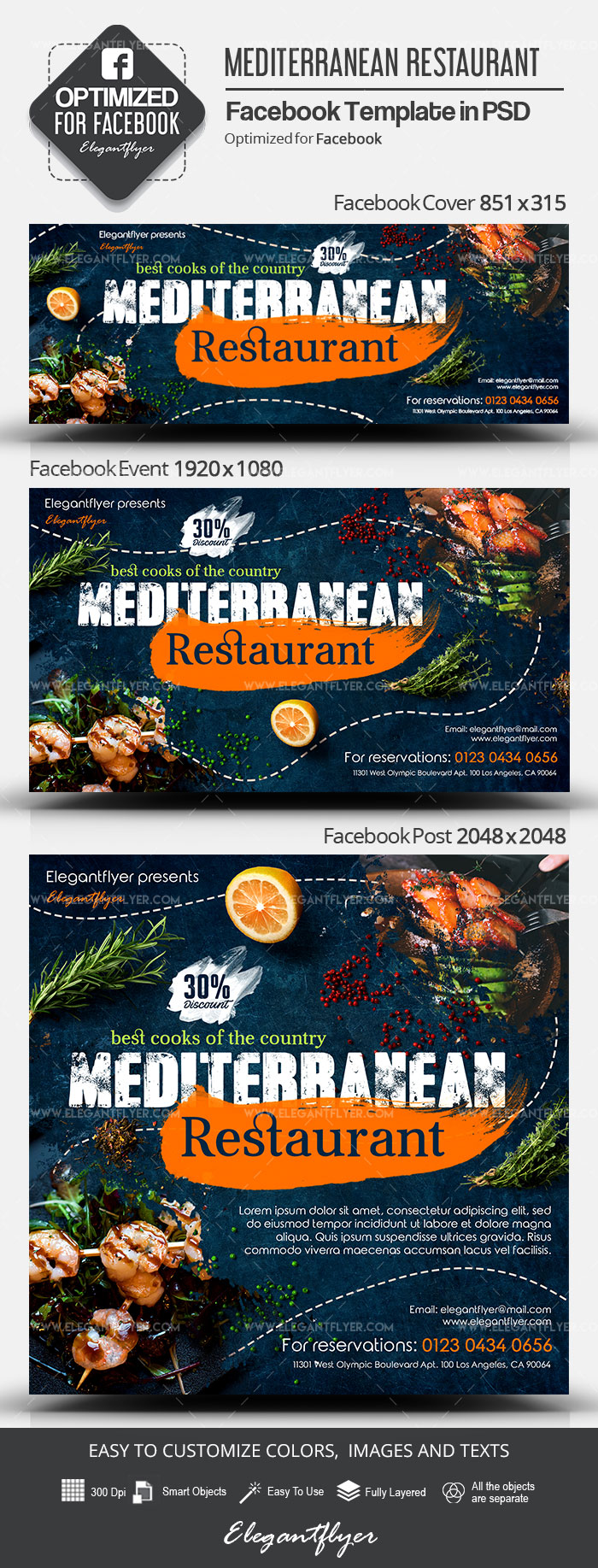 Mediterranean Restaurant – Facebook Cover Template in PSD + Post + Event cover