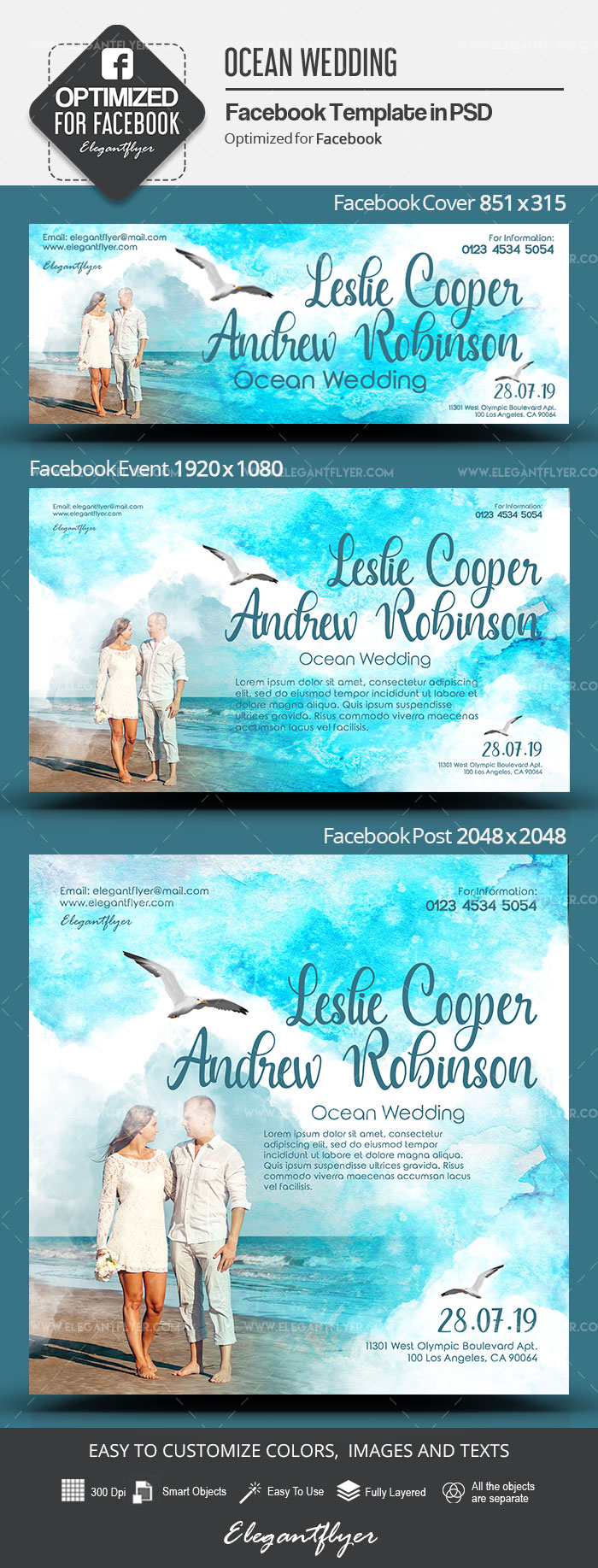 Ocean Wedding – Facebook Cover Template in PSD + Post + Event cover