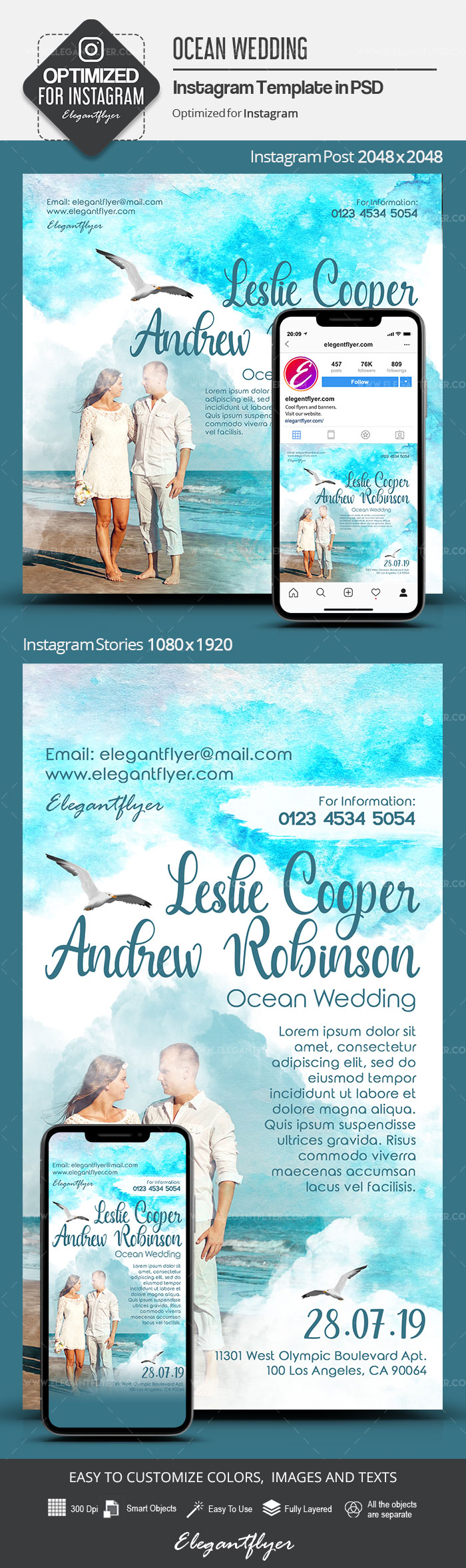 Ocean Wedding – Instagram Stories Template in PSD + Post Templates