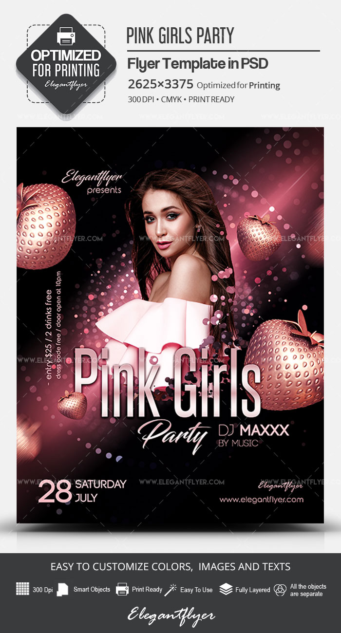 Pink Girls Party – PSD Flyer Template