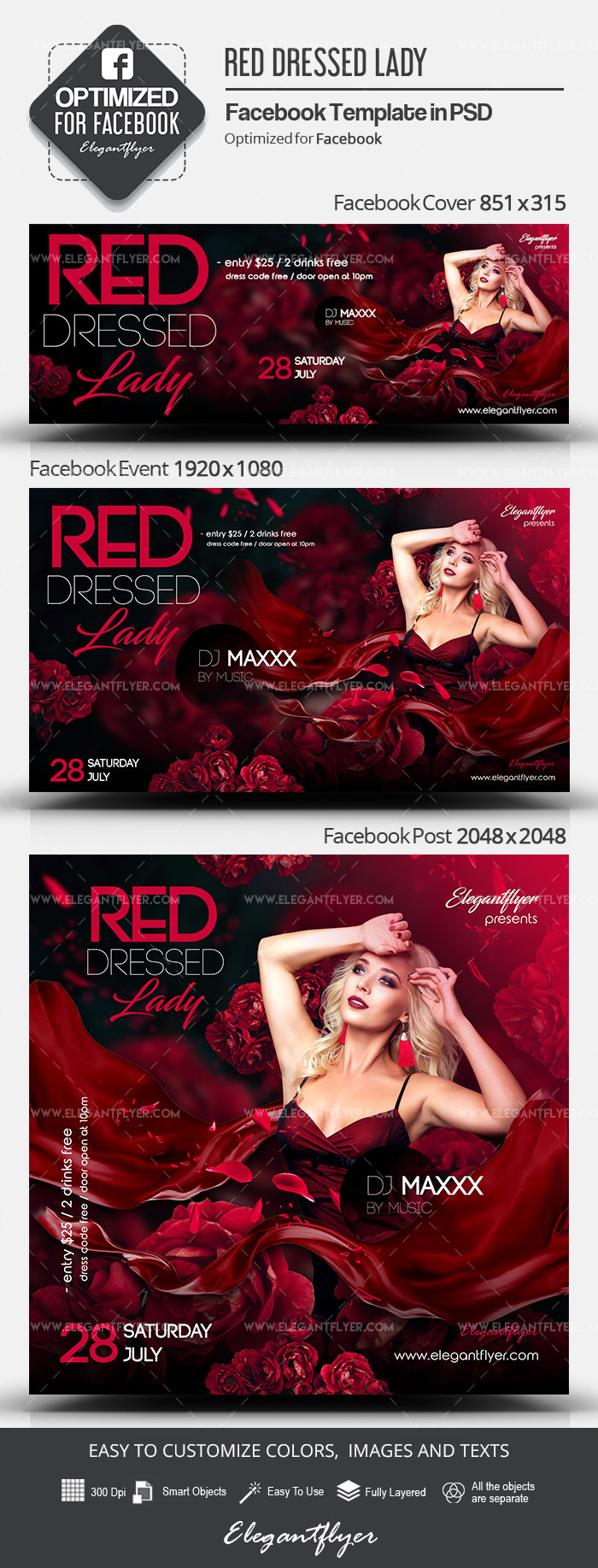 Red Dressed Lady – Facebook Cover Template in PSD + Post + Event cover