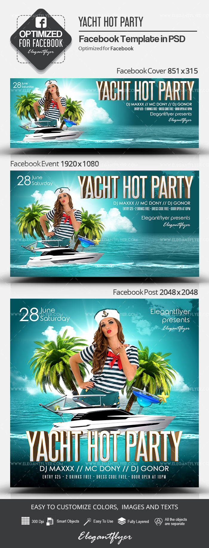Yacht Hot Party – Facebook Cover Template in PSD + Post + Event cover