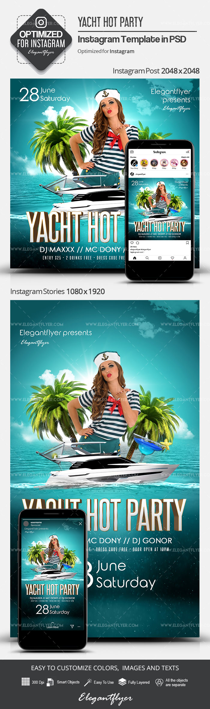 Yacht Hot Party – Instagram Stories Template in PSD + Post Templates