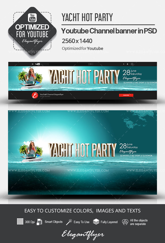 Yacht Hot Party – Youtube Channel banner PSD Template