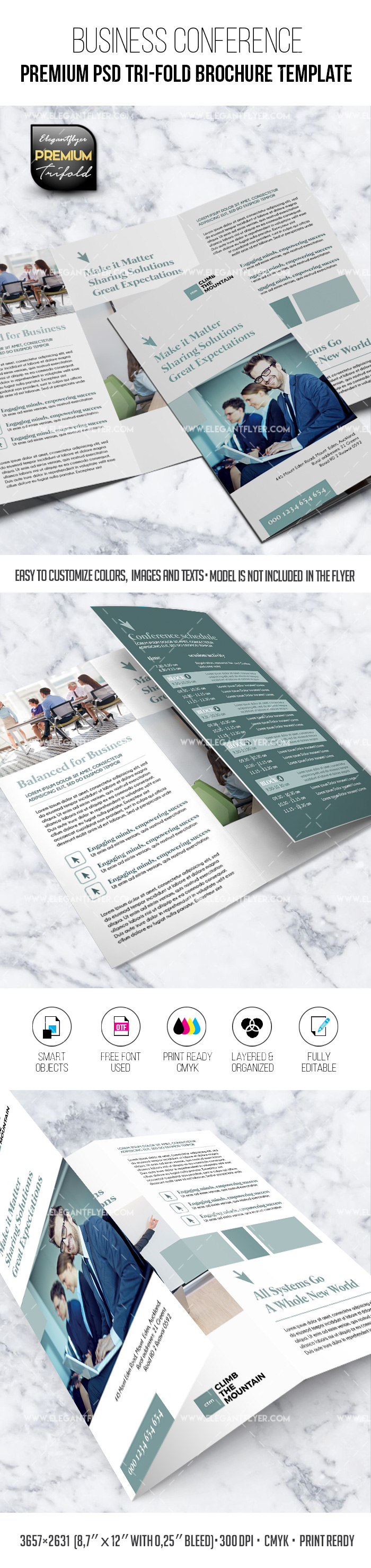 Business Conference – PSD Tri-Fold Brochure Template