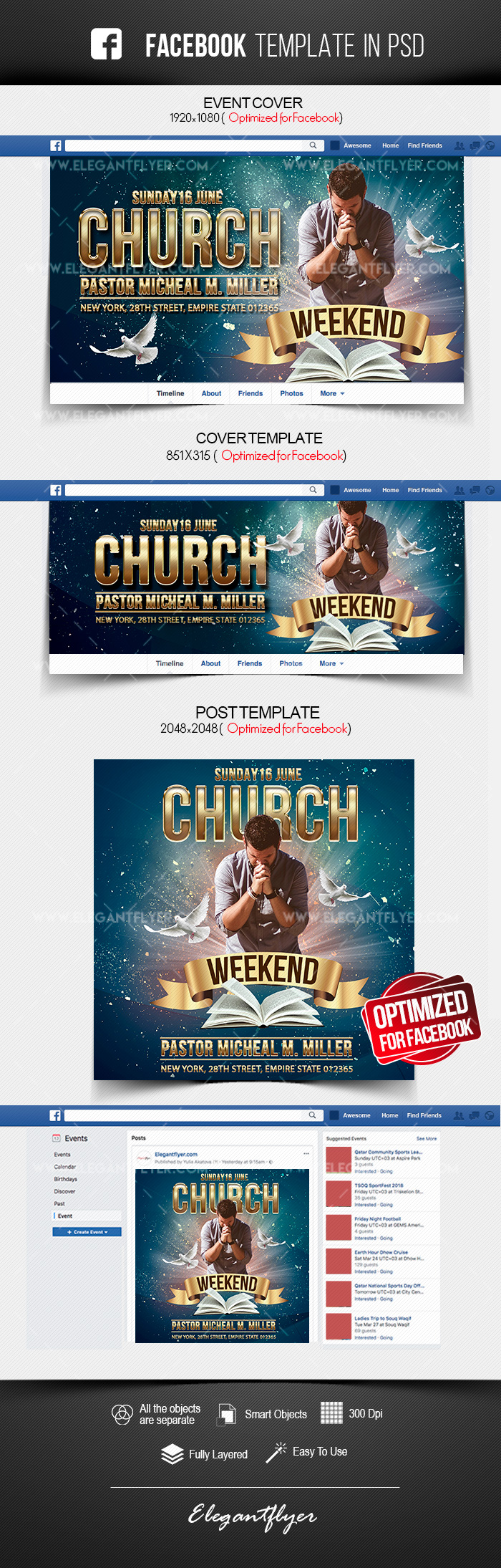 Weekend Church Event – Free Facebook Cover Template in PSD + Post + Event cover