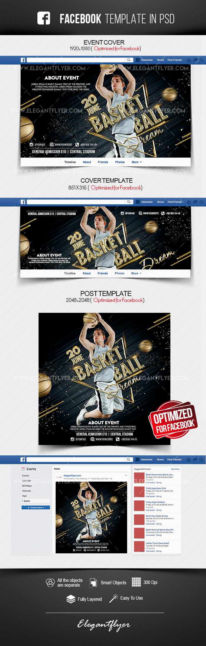 Basketball Dream – Facebook Cover Template in PSD + Post + Event cover