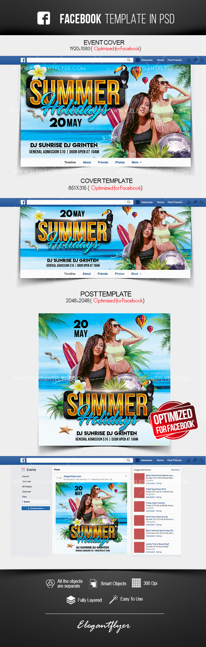 Summer Holidays – Free Facebook Cover Template in PSD + Post + Event cover