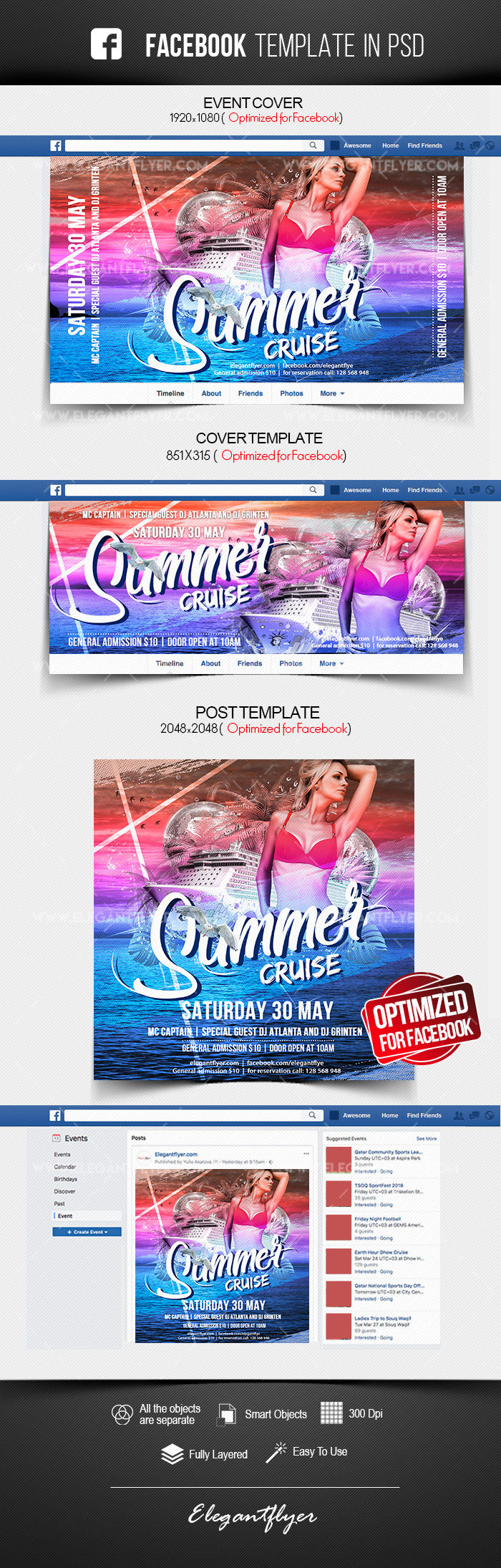 Summer Cruise – Facebook Cover Template in PSD + Post + Event cover