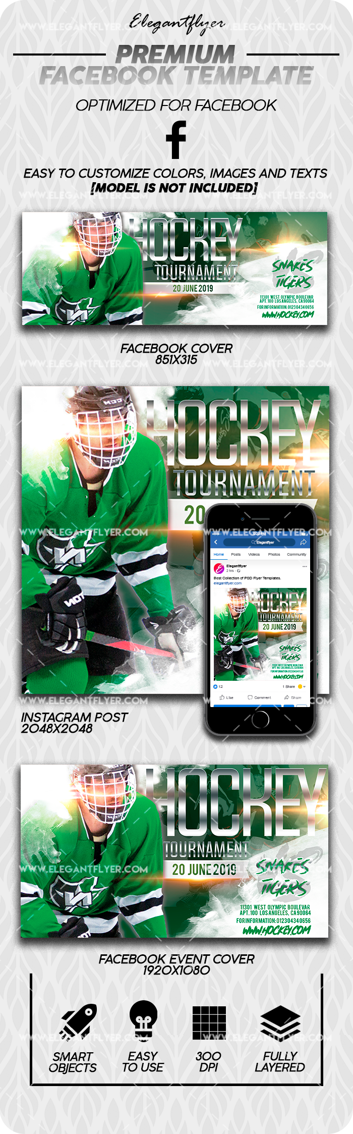 Hockey Tournament – Premium Facebook Cover Template in PSD + Post + Event cover