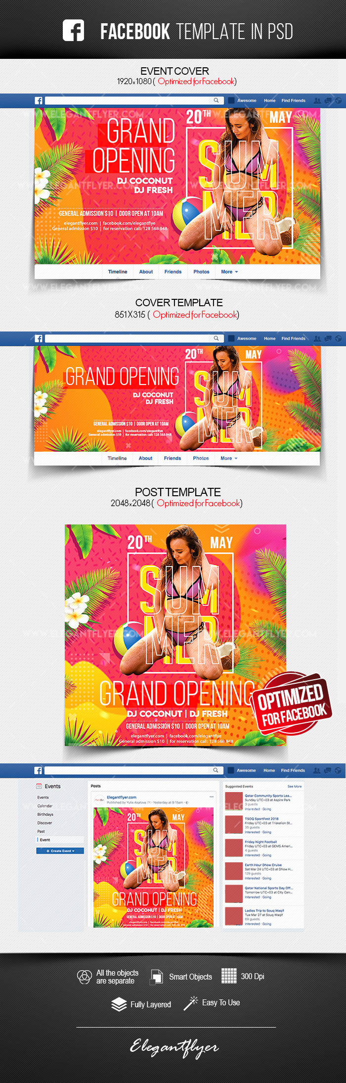 Summer Club Grand Opening – Facebook Cover Template in PSD + Post + Event cover
