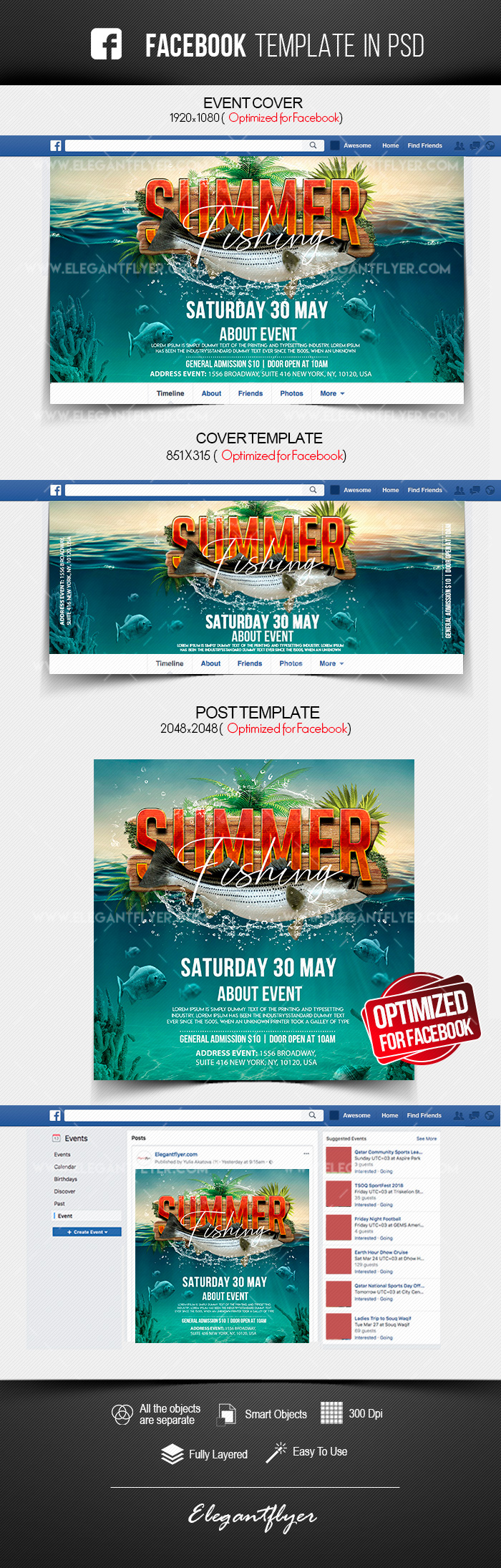 Summer Fishing – Facebook Cover Template in PSD + Post + Event cover