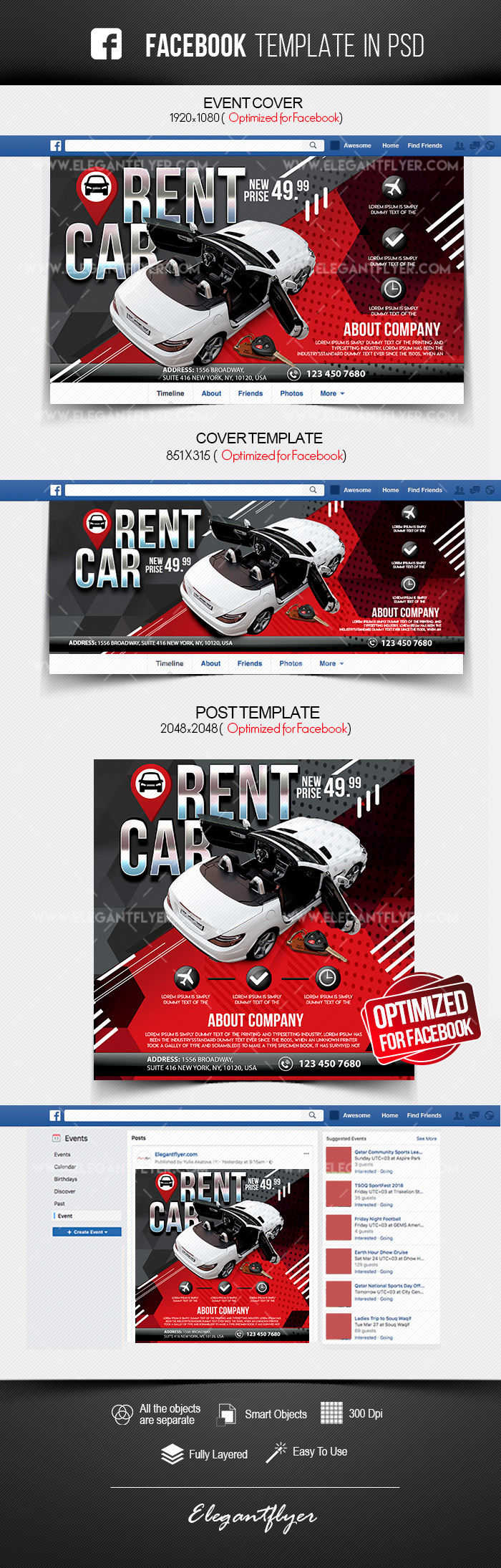 Rent a Car – Facebook Cover Template in PSD + Post + Event cover