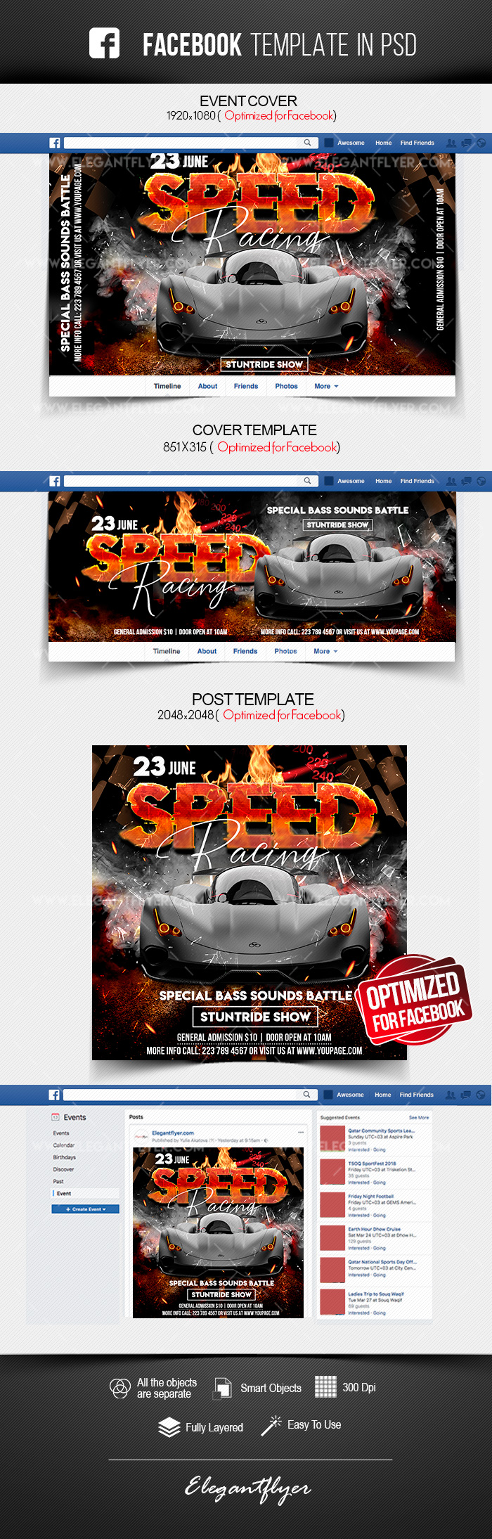 Speed Racing – Facebook Cover Template in PSD + Post + Event cover