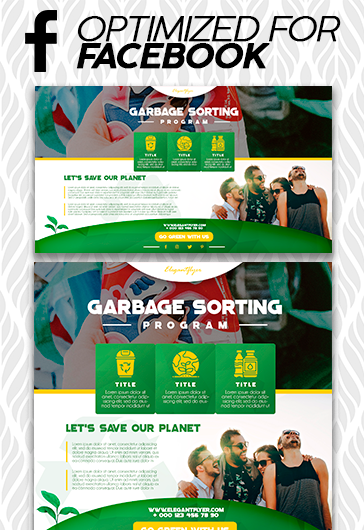 Garbage Sorting Program – Free Facebook Cover Template in PSD + Post + Event cover