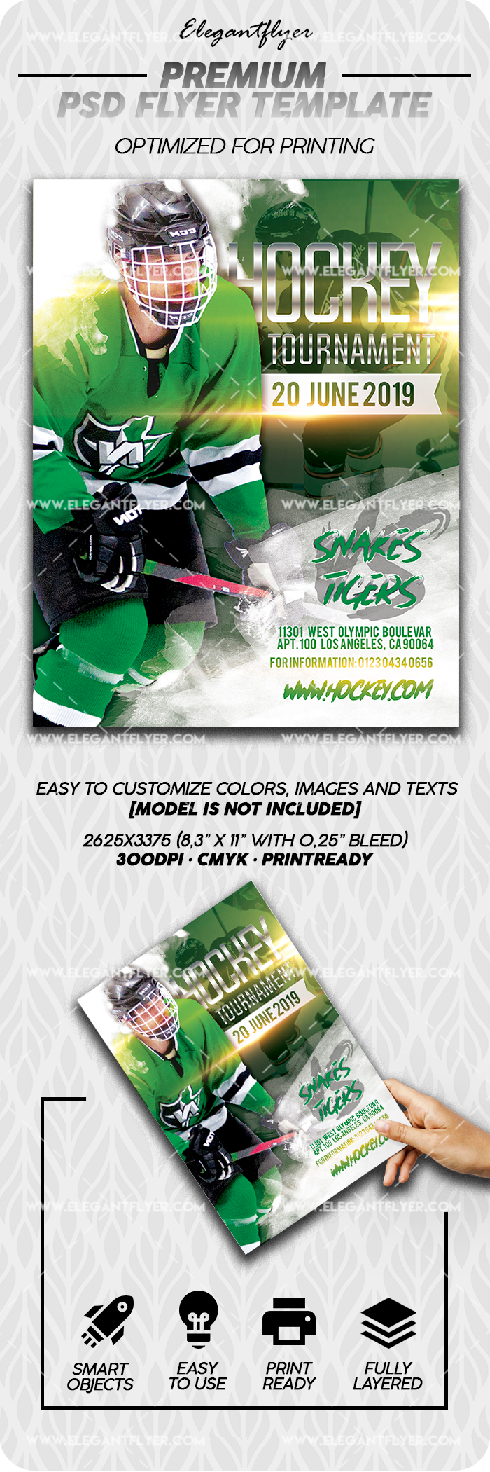 Hockey Tournament – Premium Flyer Template in PSD