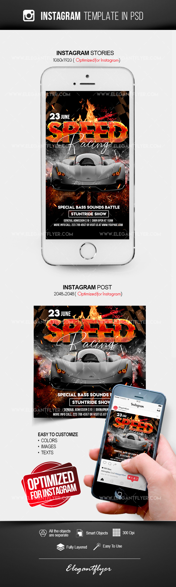 Speed Racing – Instagram Stories Template in PSD + Post Templates