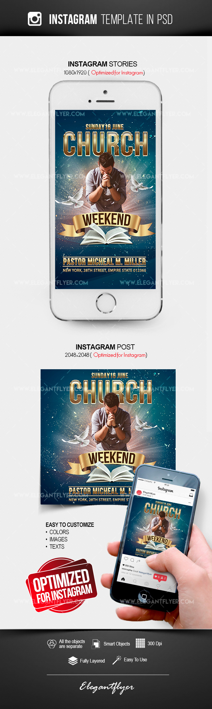 Weekend Church Event – Free Instagram Stories Template in PSD + Post Templates