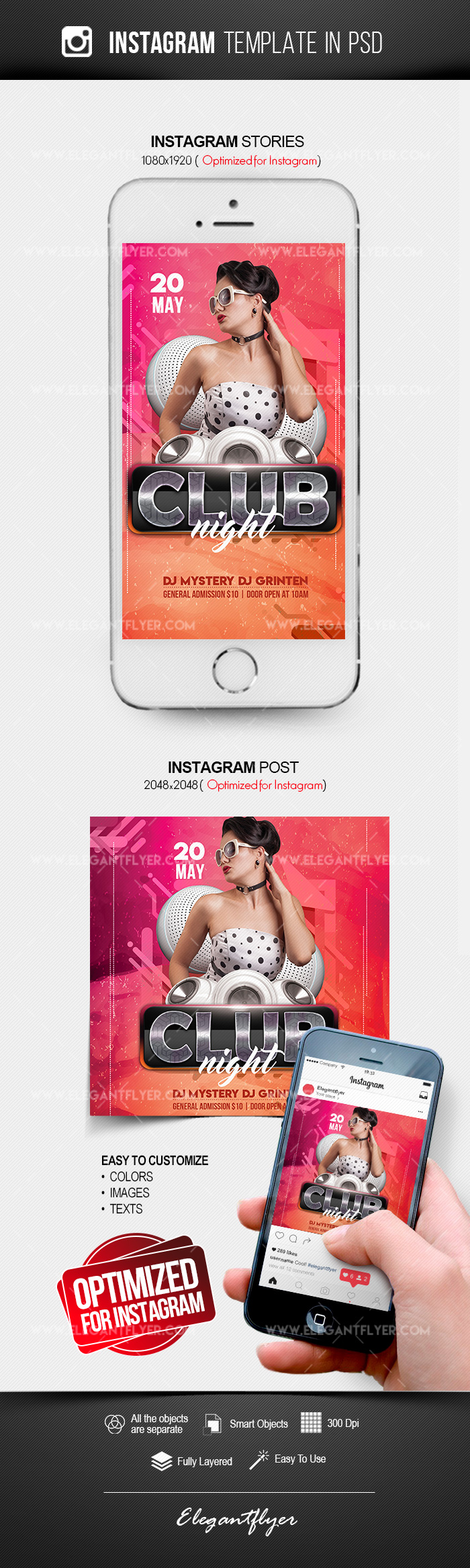 Club Night – Free Instagram Stories Template in PSD + Post Templates