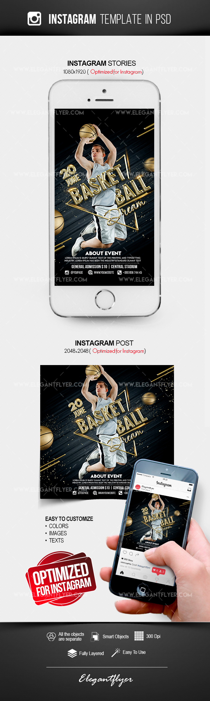 Basketball Dream – Instagram Stories Template in PSD + Post Templates
