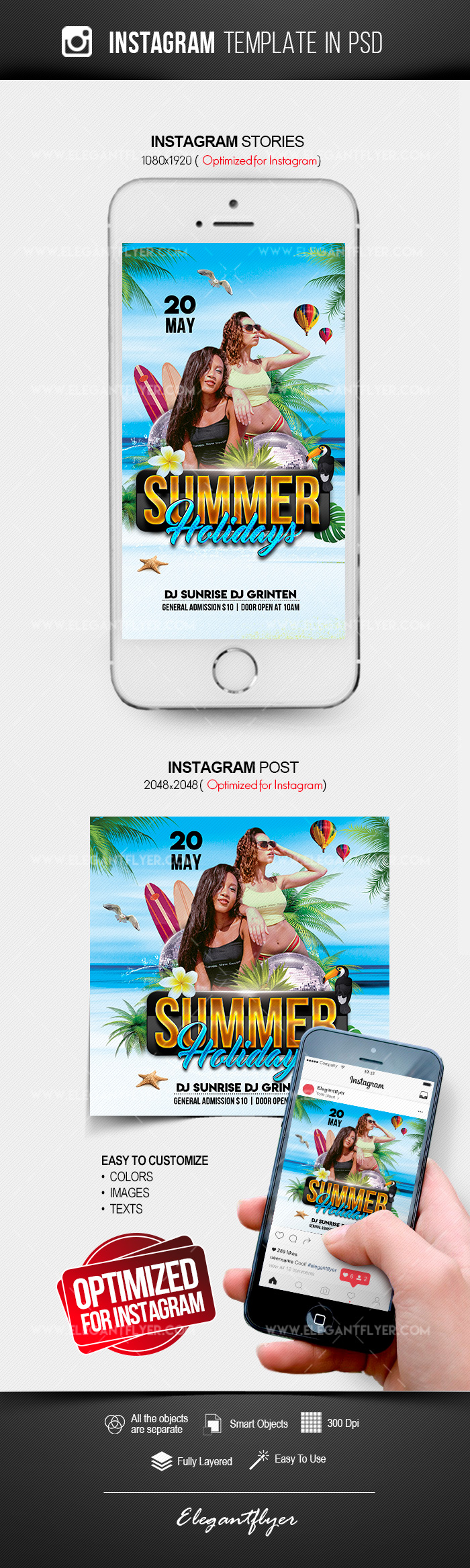 Summer Holidays – Free Instagram Stories Template in PSD + Post Templates