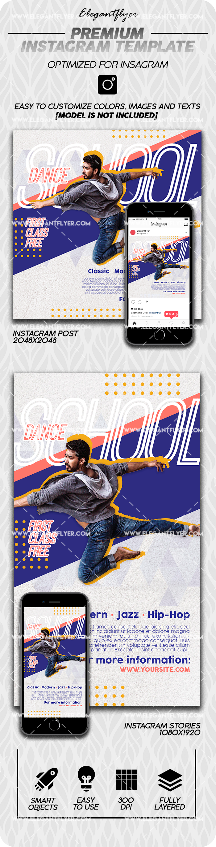 School of Contemporary Dance – Premium Instagram Stories Template in PSD + Post Templates