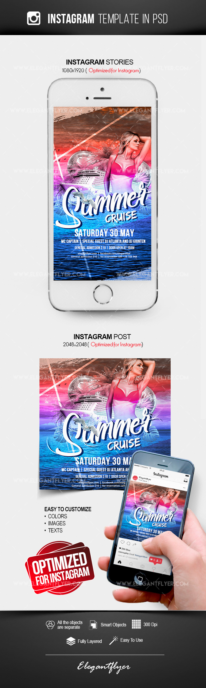 Summer Cruise – Instagram Stories Template in PSD + Post Templates