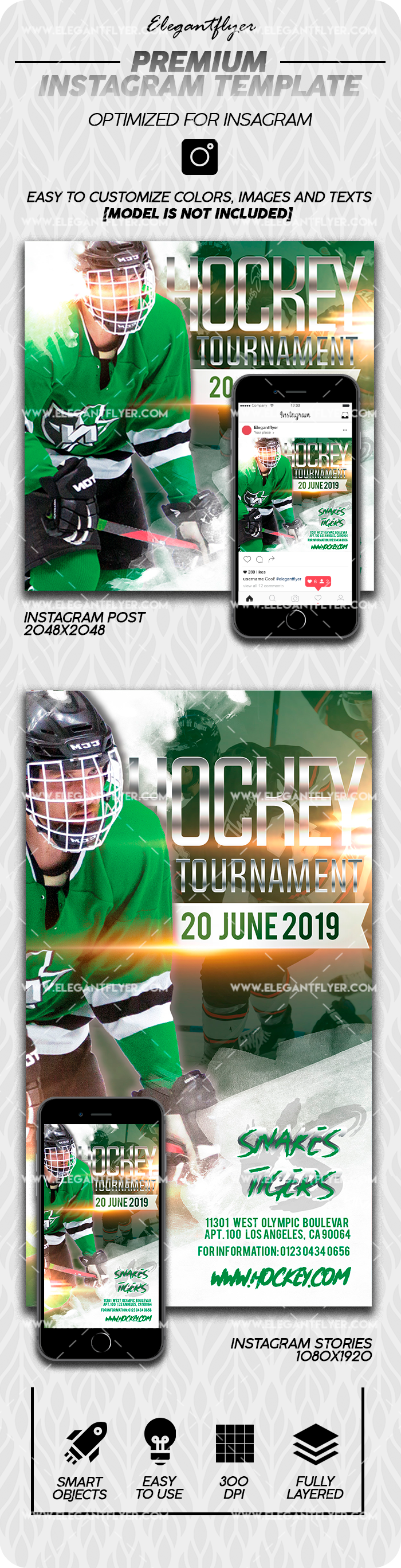 Hockey Tournament – Premium Instagram Stories Template in PSD + Post Templates