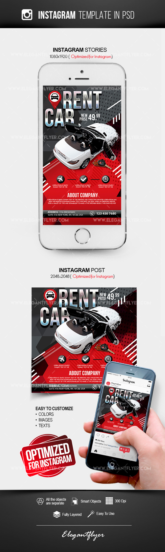 Rent a Car Flyer – Instagram Stories Template in PSD + Post Templates