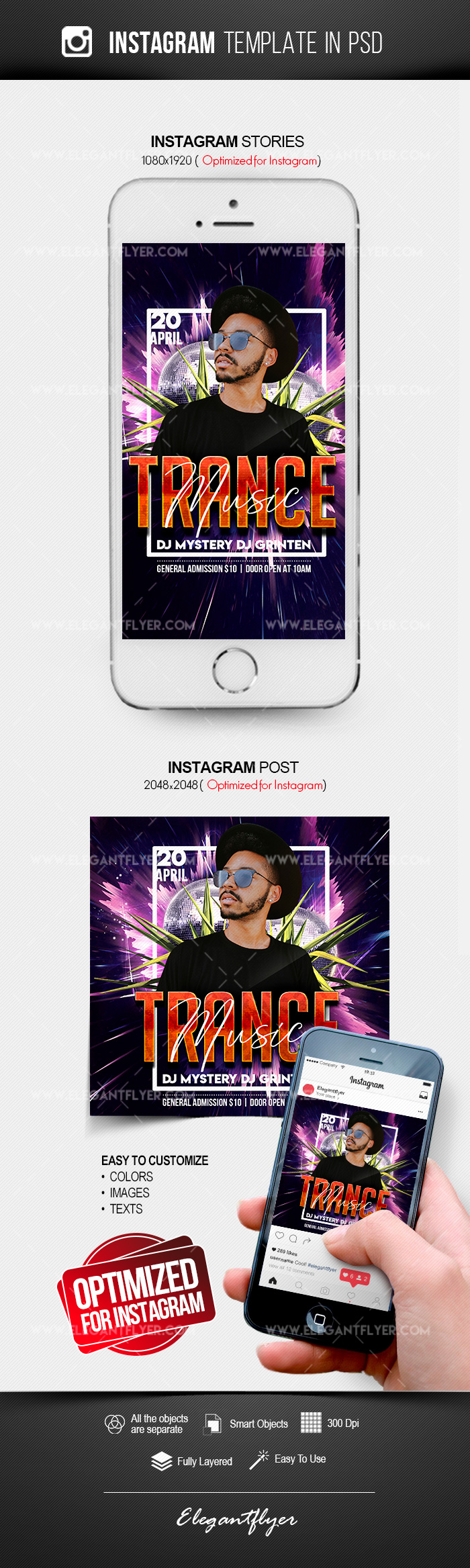 Trance Music – Free Instagram Stories Template in PSD + Post Templates