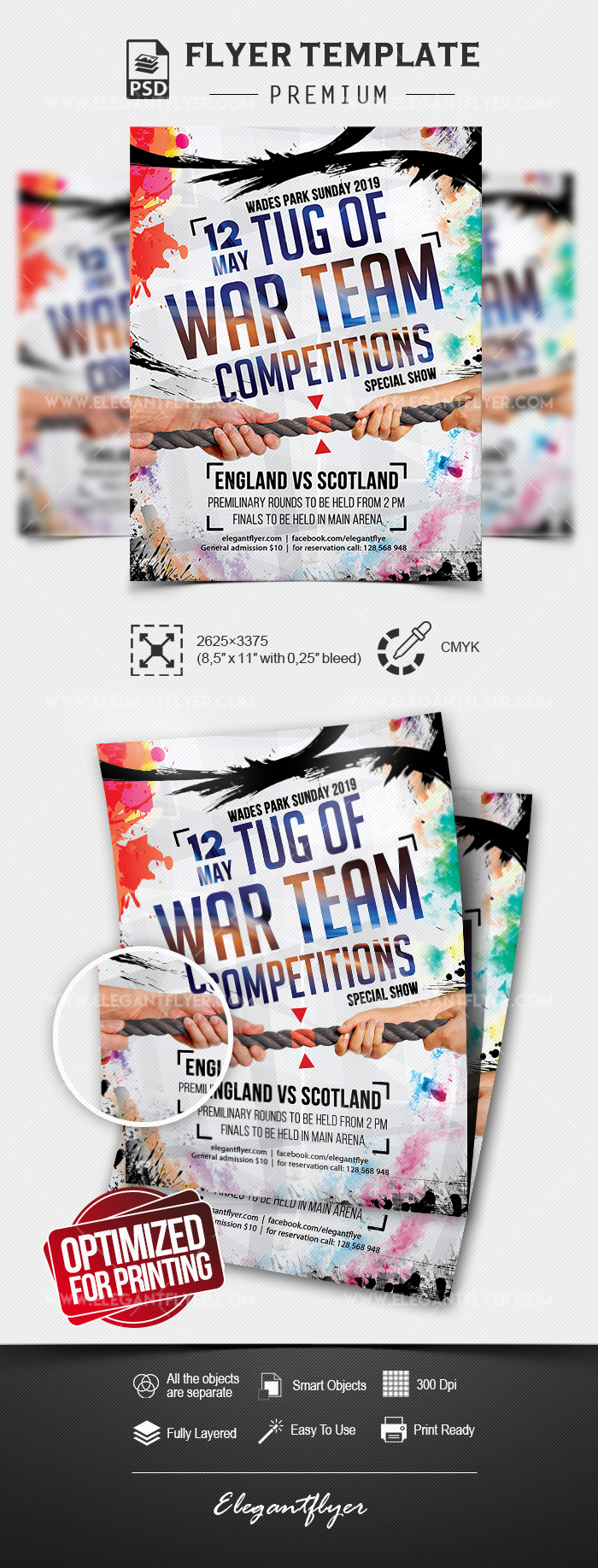 Tug of War Team Competitions – Premium PSD Flyer Template