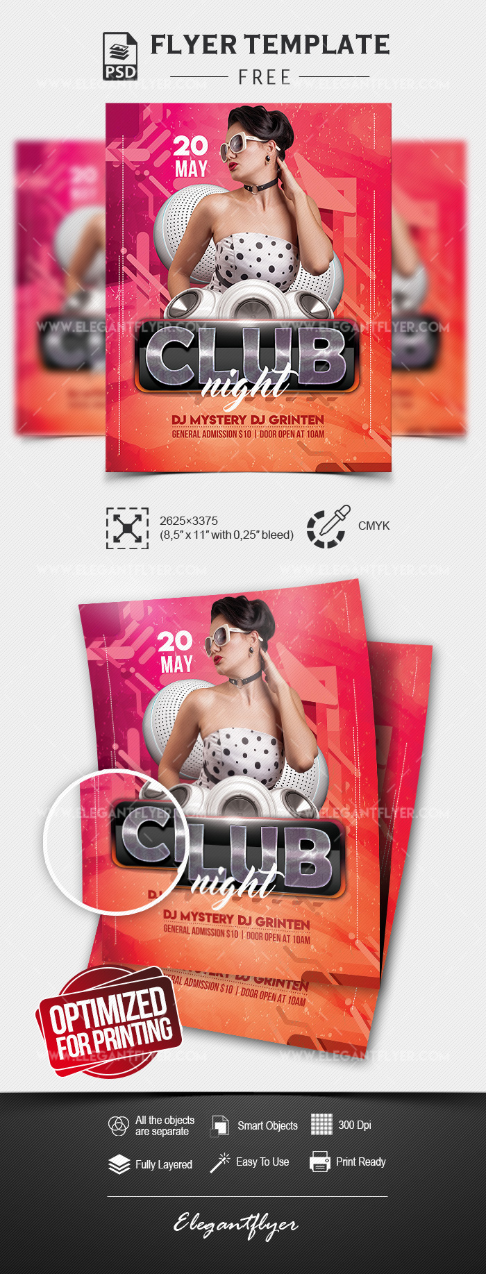 Club Night – Free Flyer Template in PSD