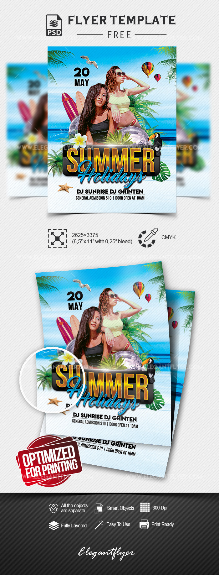 Summer Holidays – Free Flyer Template in PSD