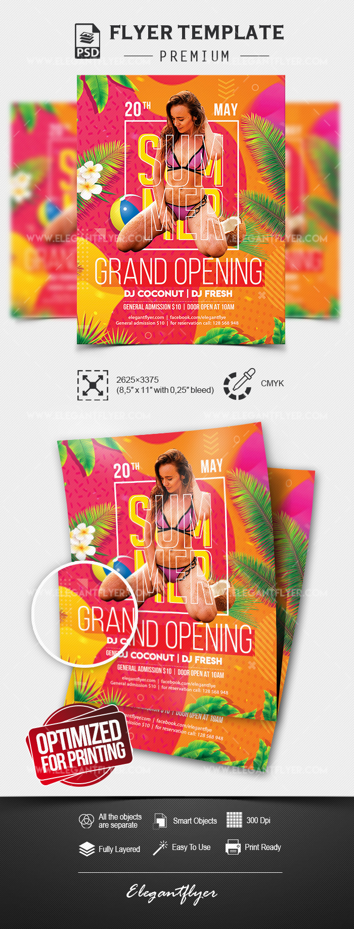 Summer Club Grand Opening – Premium Flyer Template in PSD