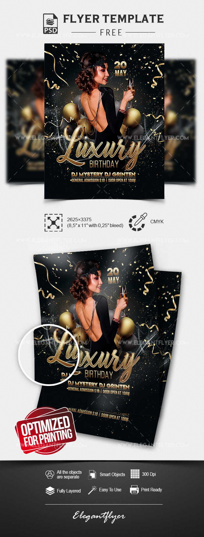 Luxury Birthday – Free Flyer Template in PSD