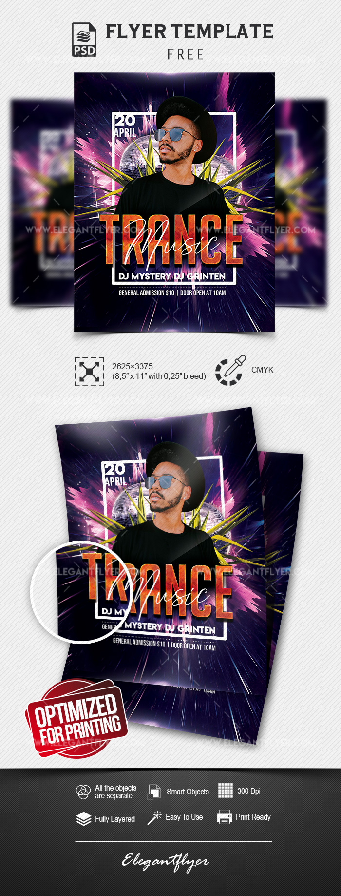 Trance Music – Free Flyer Template in PSD