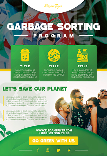 Garbage Sorting Program – Free Flyer Template in PSD