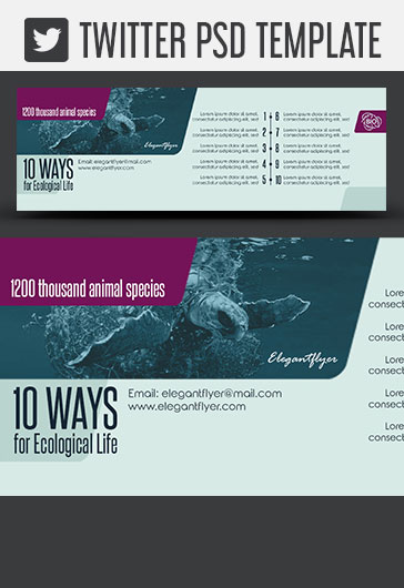 10 Ways for Ecological Life – Twitter Header PSD Template