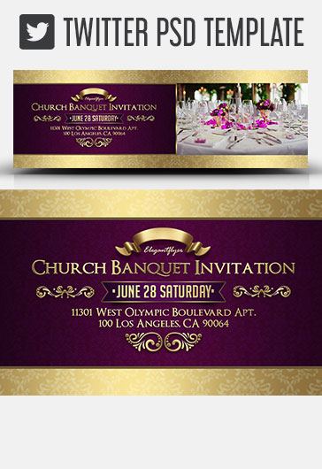 Church Banquet Invitation – Twitter Header PSD Template