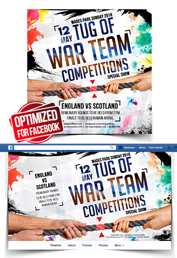 Tug of War Team Competitions – Facebook Cover Template in PSD + Post + Event cover