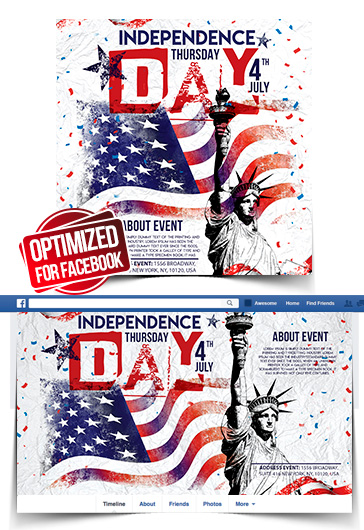 Independence Day – Facebook Cover Template in PSD + Post + Event cover
