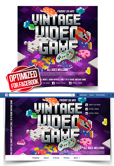 Vintage Video Games – Facebook Cover Template in PSD + Post + Event cover