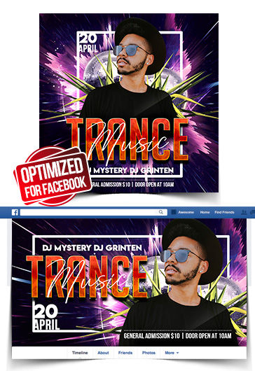 Trance Music – Free Facebook Cover Template in PSD + Post + Event cover