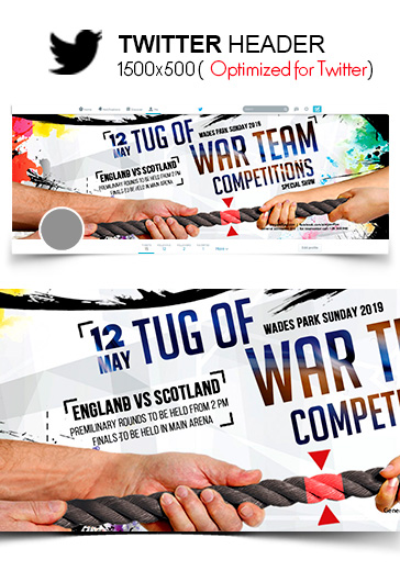 Tug of War Team Competitions – Twitter Header PSD Template