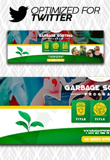 Garbage Sorting Program – Free Twitter Channel banner PSD Template