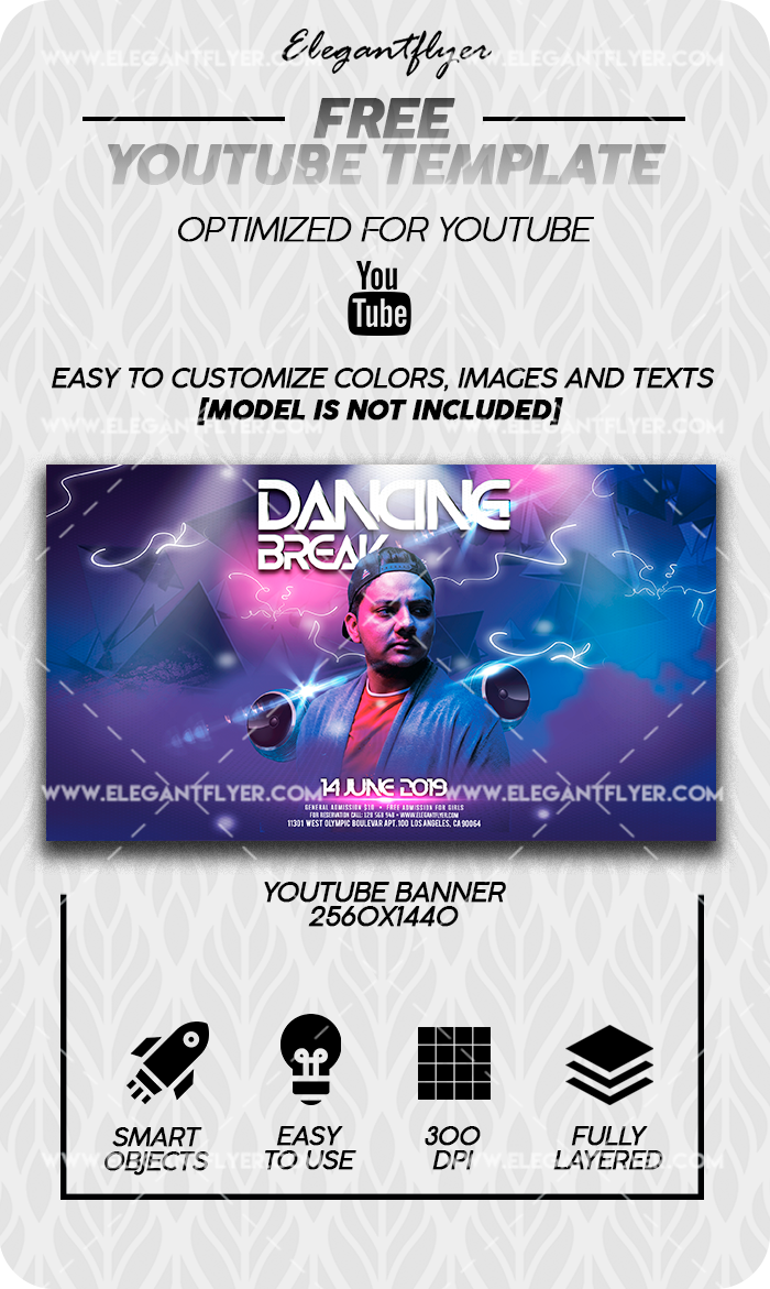 Break Dancing – Free Youtube Channel banner PSD Template